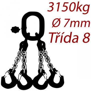Viazacia reťaz triedy 8 O-4H, priemer 7mm, nosnosť 3150kg