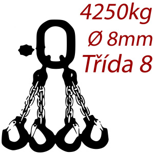 Viazacia reťaz triedy 8 O-4H, priemer 8mm, nosnosť 4250kg