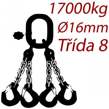 Viazacia reťaz triedy 8 O-4H, priemer 16mm, nosnosť 17000kg
