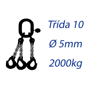 Viazacia reťaz triedy 10, O-3H, priemer 5mm, nosnosť 2000kg