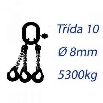 Viazacia reťaz triedy 10, O-3H, priemer 8mm, nosnosť 5300kg