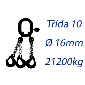 Viazacia reťaz triedy 10, O-3H, priemer 16mm, nosnosť 21200kg