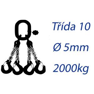 Viazacia reťaz triedy 10, 4-hák, priemer 5mm, nosnosť 2000kg