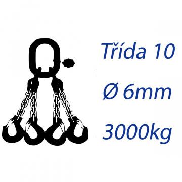 Viazacia reťaz triedy 10, 4-hák, priemer 6mm, nosnosť 3000kg