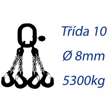 Viazacia reťaz triedy 10, 4-hák, priemer 8mm, nosnosť 5300kg