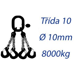Viazacia reťaz triedy 10, 4-hák, priemer 10mm, nosnosť 8000kg
