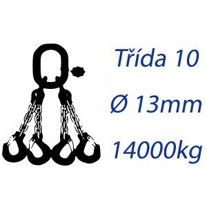 Viazacia reťaz triedy 10, 4-hák, priemer 13mm, nosnosť 14000kg