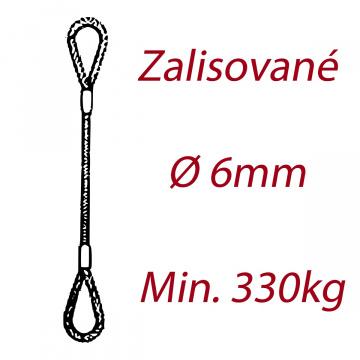 Oceľové viazacie lano, oko-oko, priemer 6mm Jednopramenné, zalisované