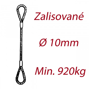 Oceľové viazacie lano, oko-oko, priemer 10mm Jednopramenné, zalisované