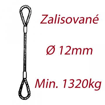 Oceľové viazacie lano, oko-oko, priemer 12mm Jednopramenné, zalisované