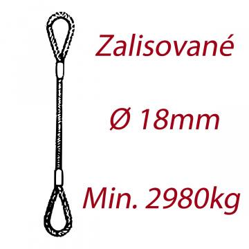 Oceľové viazacie lano, oko-oko, priemer 18mm Jednopramenné, zalisované
