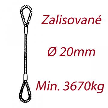 Oceľové viazacie lano, oko-oko, priemer 20mm Jednopramenné, zalisované