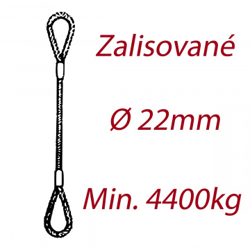 Oceľové viazacie lano, oko-oko, priemer 22mm Jednopramenné, zalisované