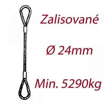 Oceľové viazacie lano, oko-oko, priemer 24mm Jednopramenné, zalisované