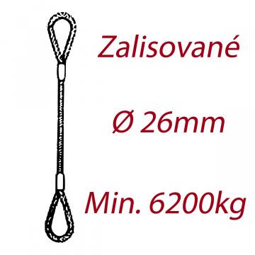 Oceľové viazacie lano, oko-oko, priemer 26mm Jednopramenné, zalisované