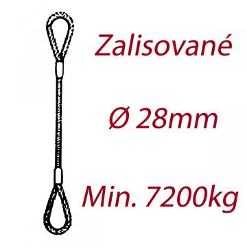 Oceľové viazacie lano, oko-oko, priemer 28mm Jednopramenné, zalisované