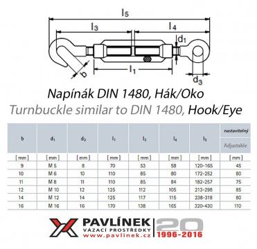 Nerezový napinák O-H (oko-hák), AISI 316 (A4)