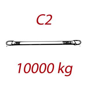 C2 - 10000kg, popruh plochý s kovovými neprovlékacími okami, modrý, šírka 300mm