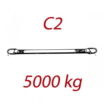 C2 - 5000kg, popruh plochý s kovovými neprovlékacími okami, červený, šírka 150mm
