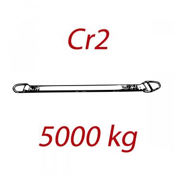 CR2 - 5000kg, popruh plochý s kovovými prevliekacím okami, červený, šírka 150mm