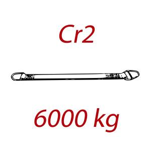 CR2 - 6000kg, popruh plochý s kovovými prevliekacím okami, hnedý, šírka 180mm