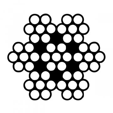 Oceľové lano, konštrukcie 6x7-WSC (7x7), pozinkované, pevnosť drôtov min. 1770 MPa
