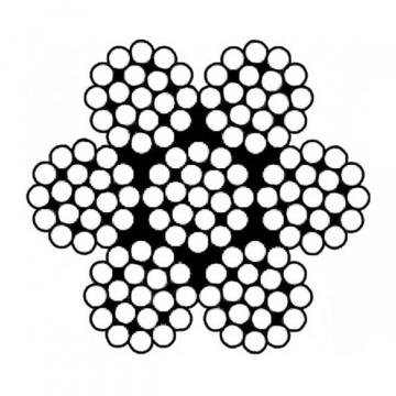 Oceľové lano, konštrukcie 6x19-WSC (7x19), pozinkované, pevnosť drôtov min.1770 MPa