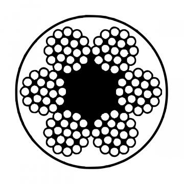 Pozinkované oceľové lano potiahnuté PVC, konštrukcia 6x19-FC, PVC transparentné