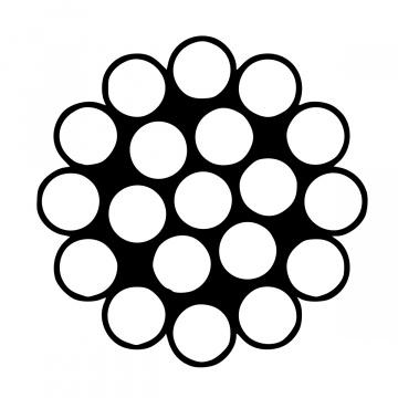 Jednopramenné antikorové lano konštrukcie 1x19, nerez A4 - AISI316, min. pevnosť 1570N / mm2