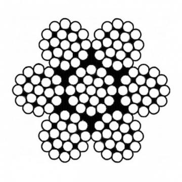 Šestipramenné antikorové lano konštrukcie 7x19, nerez A4 - AISI316, min. pevnosť 1570N / mm2