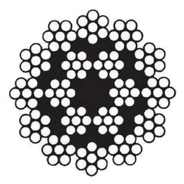 Oceľové lano, konštrukcie 18x7-WSC, pozinkované, pevnosť drôtov min.1770 MPa, mazané